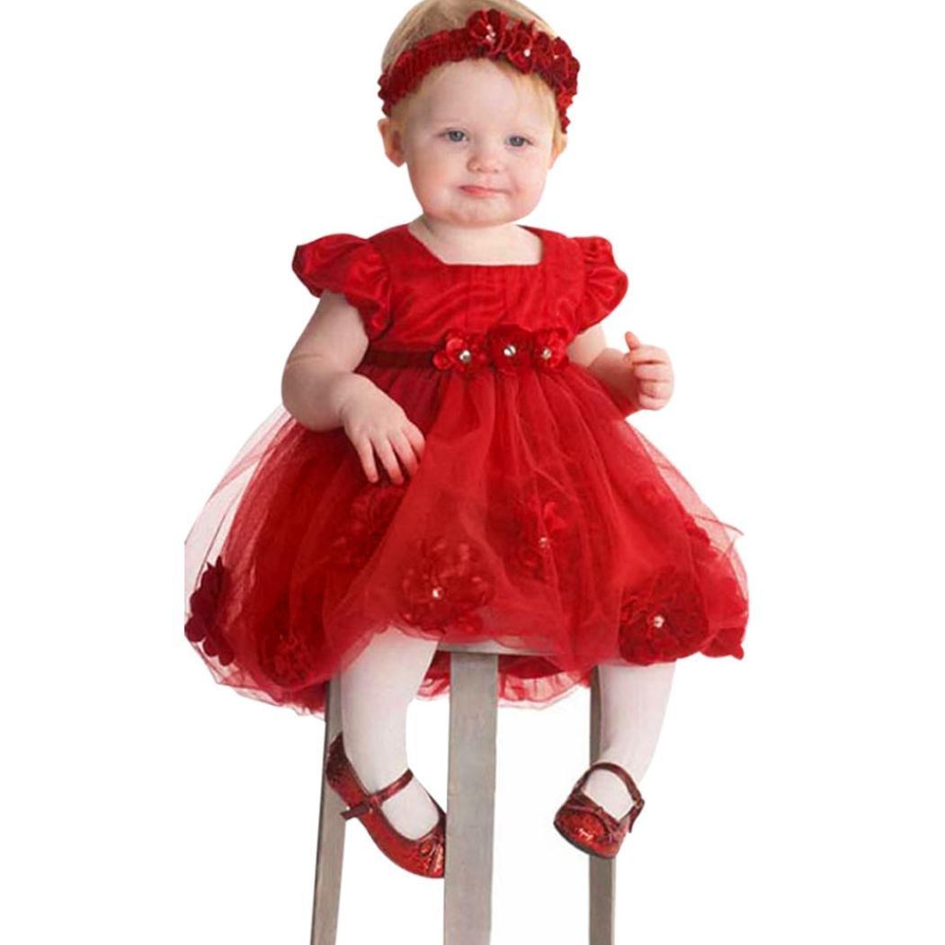 Kleider Mädchen, GJKK Baby Mädchen Prinzessin Kleid Spitzenkleider Blumenmädchenkleider Bodenlang Brautjungfer Kleid Abendkleid Tutu-Kleid Partyskleid Festlich Tüll Sommerkleid Kleider Mädchen