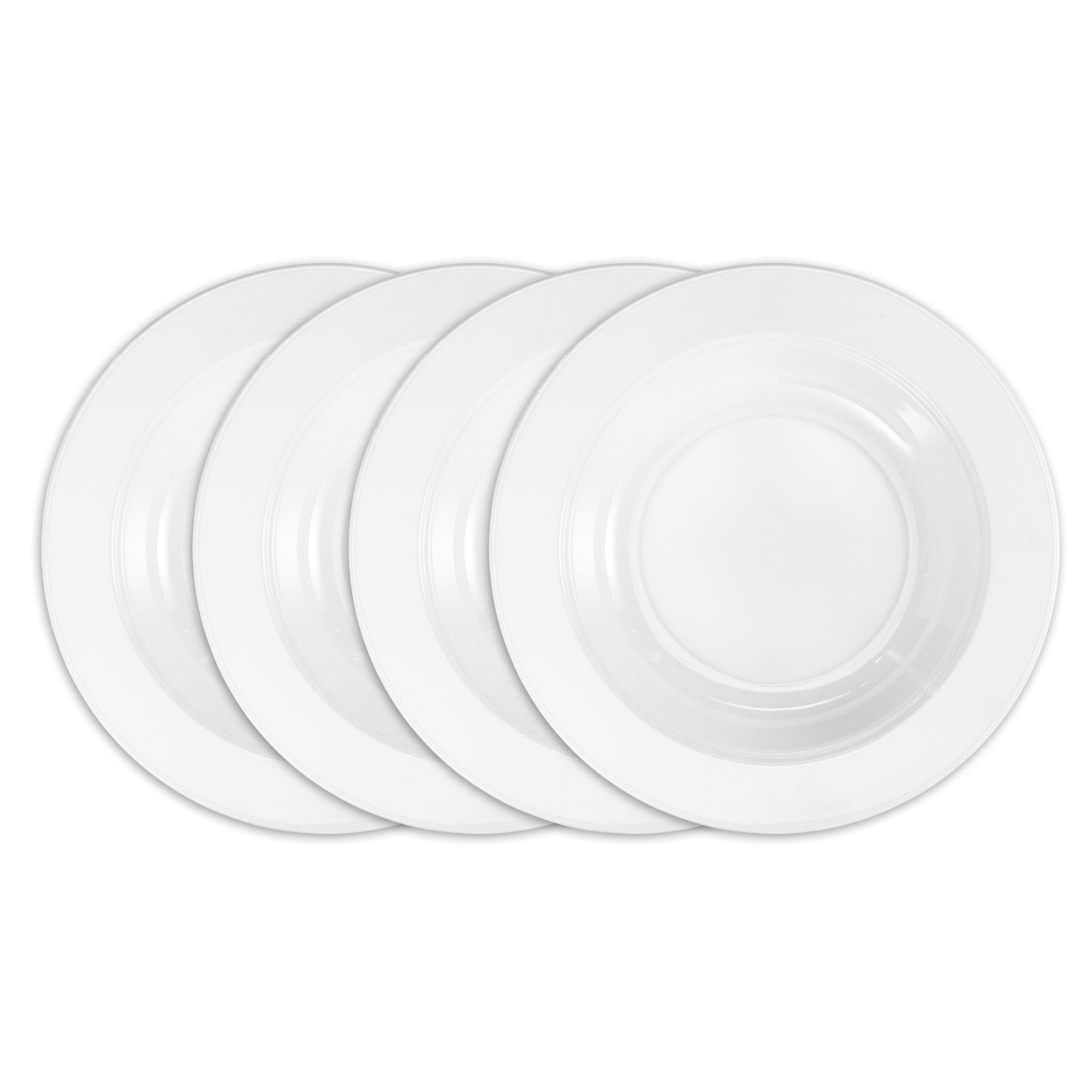 Q Squared Diamond BPA-Free and Shatterproof Melamine Round Pasta Bowl, 10-1/2-Inches, Set of 4, White