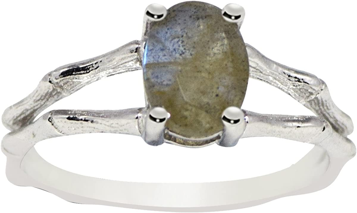 Oval Cut Labradorite Gemstone Split Shank Ring 925 Sterling Silver Jewelry