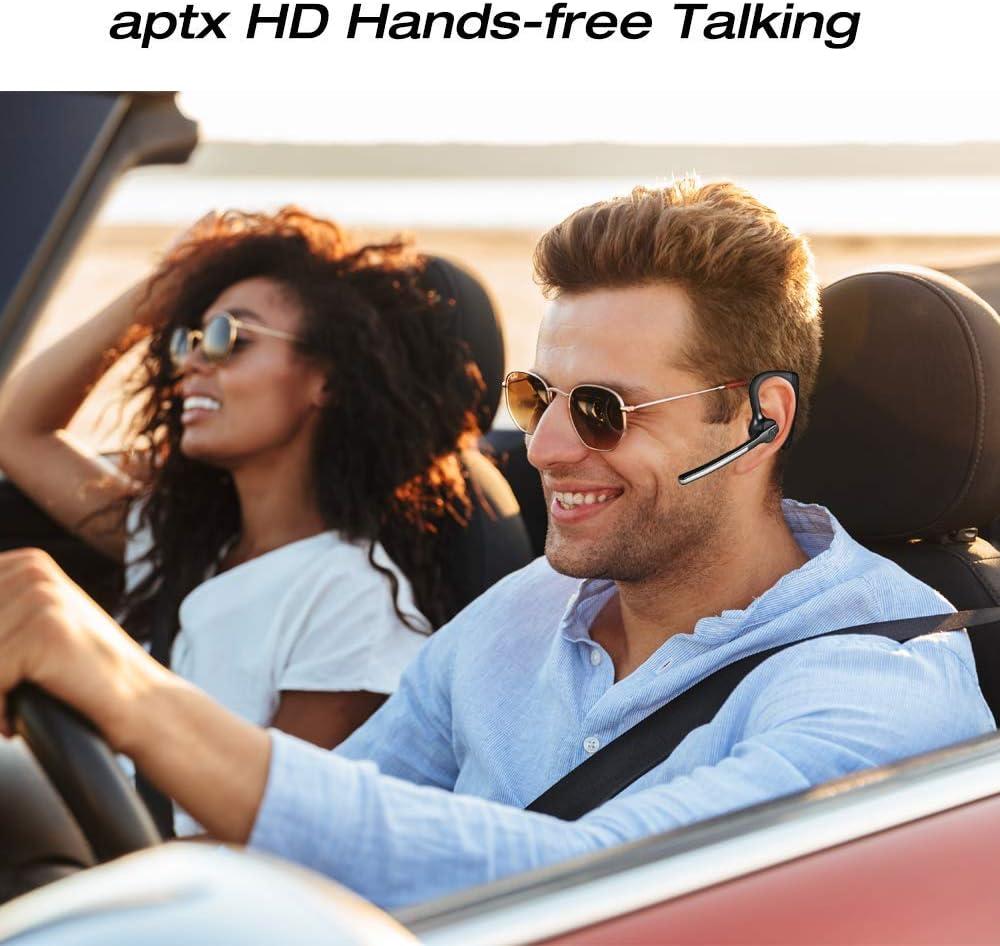 aptX HD 16 Hrs Talktime Bluetooth Earpiece Conambo Bluetooth Headset 5.0 Noise Cancelling Mute Key Wireless Earphones for Cell Phones Business Trucker Office