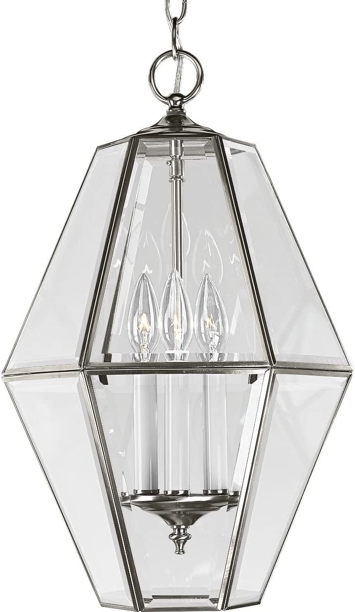 Progress Lighting P3716-09 6-Sided Foyer Fixture with Clear Bound Beveled Glass, Brushed Nickel