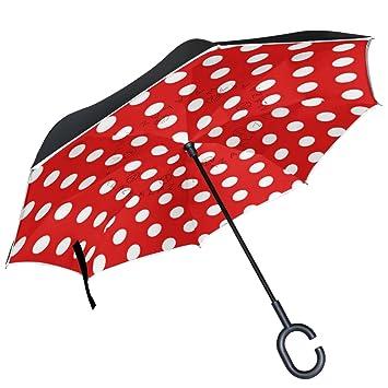 ALAZA (piel), diseño de lunares, color blanco y negro puede paraguas paraguas