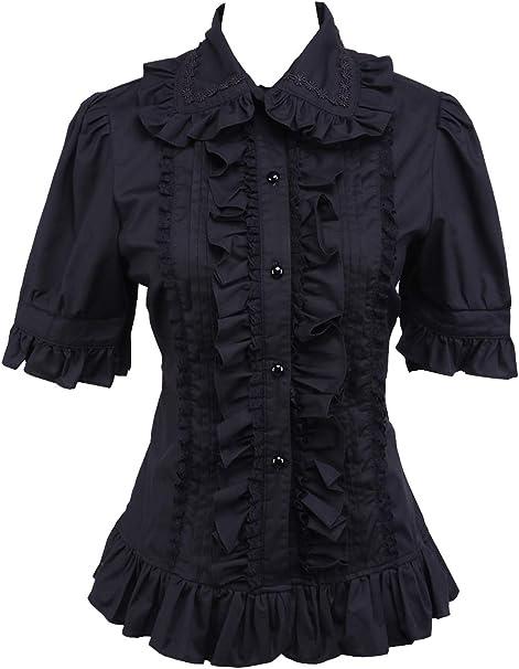 an*tai*na* Negra Algodón Encaje Volantes Retro Victoriana Kawaii Lolita Camisa Blusa de Mujer: Amazon.es: Ropa y accesorios