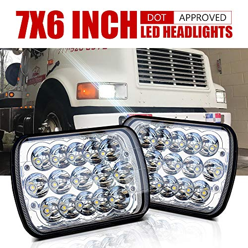 DOT Rectangular 5x7 7x6 LED Headlights Hi/Lo Replace H6054 Hid Halogen Sealed Beam headlamp Jeep Wrangler JK Grand Cherokee XJ YJ JKU 4x4 Toyota Tacoma pickup Ford F250 E350 Chevy Corvette Dodge Ram