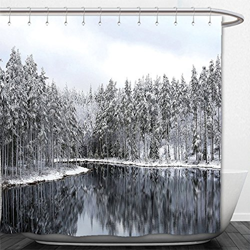 Interestlee Shower Curtain Woodland Decor Lake Surrounded By Snow Covered Trees On A Cold Winter Day In Finland - Day Spa Personal Reflections