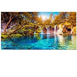 Visual Art Decor Large 20''x40'' Nature Autumn Forest Landscape Canvas Wall Art Blue Crystal Lake in Forest Scenery Painting Prints for Living Room Ready to Hang Stretched Giclee Prints Artwork