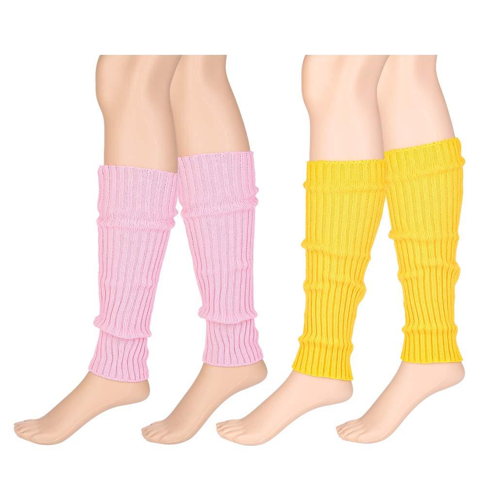 Tdauke 4 Pairs Womens Fashion Leg Warmers Knit Winter Warm Leg Warmers Long Socks Boot Cuffs Topper Legging Pads Knee Warmers Sleeve for Women Lady Girls Best Gift