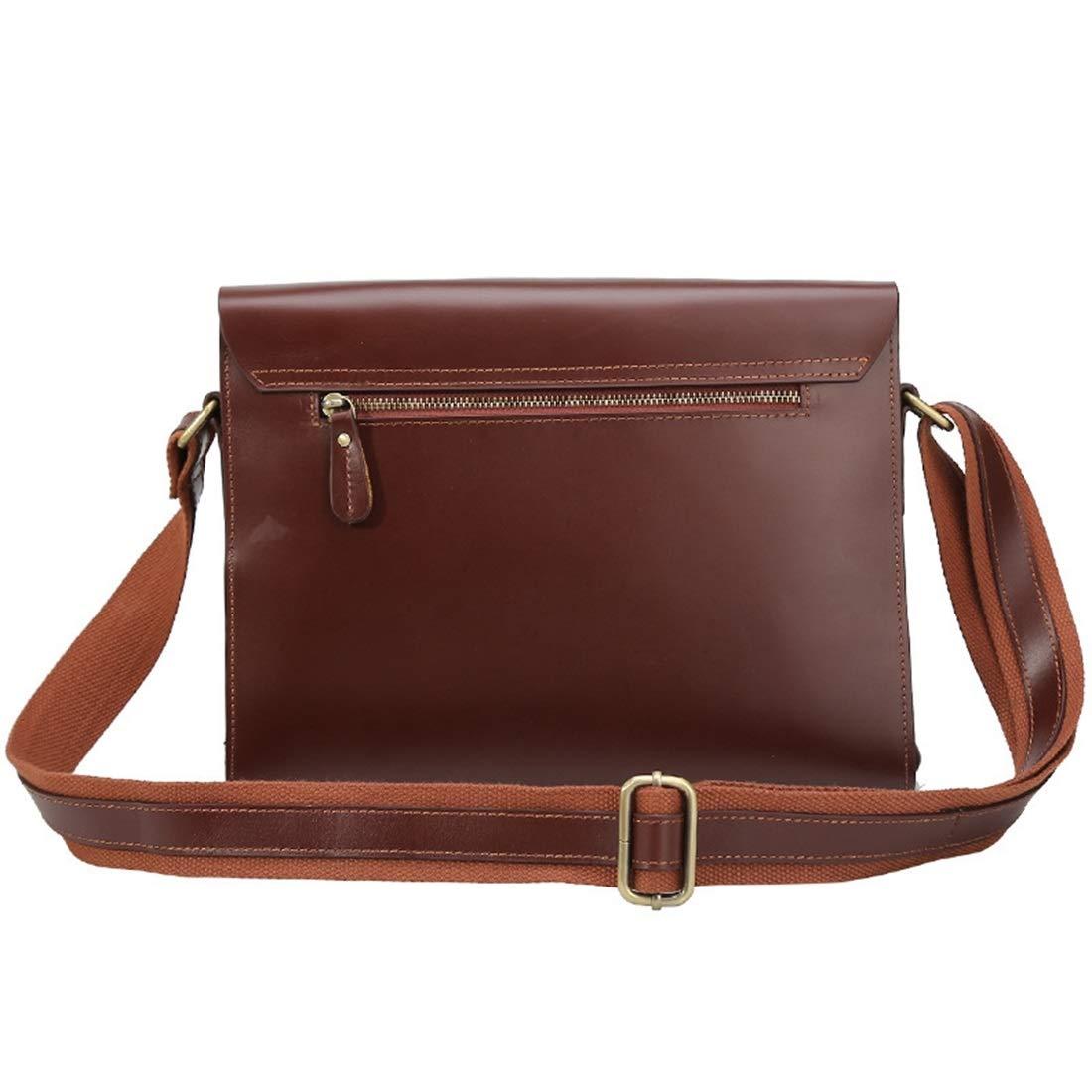Color : Brown XIAMEND Office Flap Handbag Retro Leather Business Briefcase 9.7 Tablet Messenger Crossbody Satchel Bag