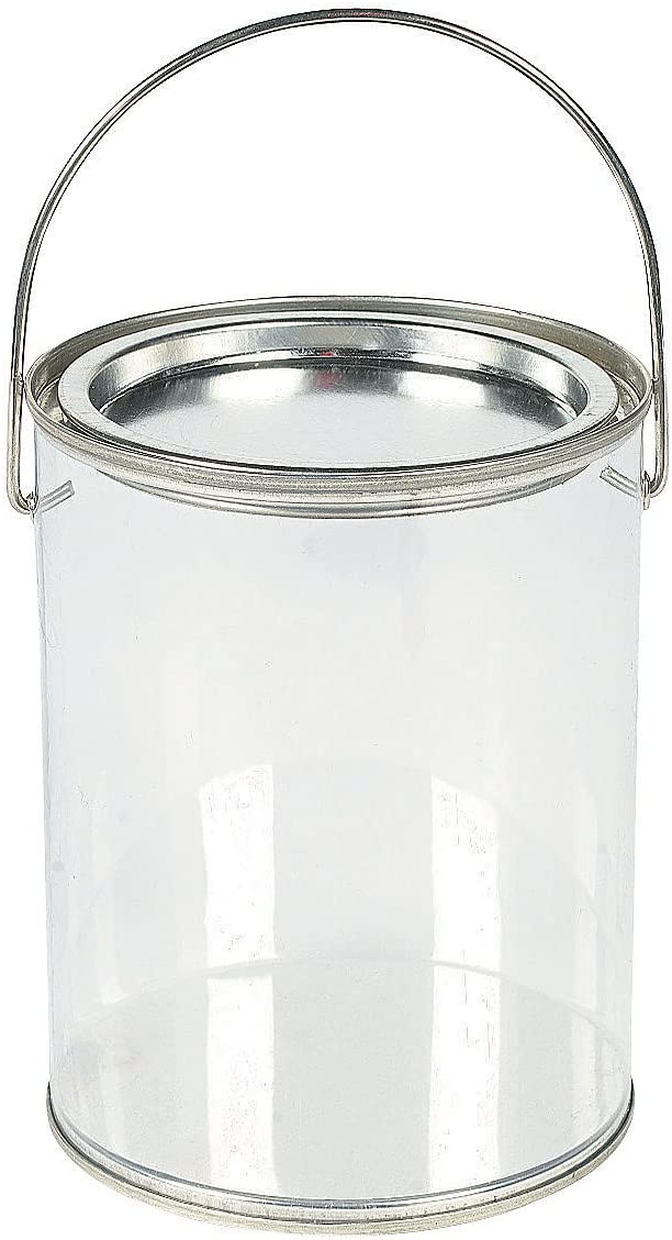 Clear Paint Can Containers with Metal Lids (Set of 6 Plastic Buckets) Great for Party Favors, Decor and DIY Projects