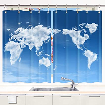 Amazon.com: Unique World Map Kitchen Curtains, World Map of ...