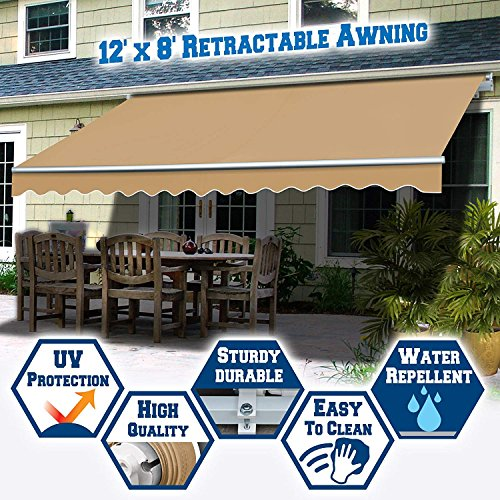 BenefitUSA AWN Manual Retractable Patio Deck Cover Sunshade Canopy (12′ x 8′) (Beige)