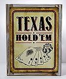 Framed Texas Hold 'Em Vintage Metal Sign, Cards, Poker Chip, Gaming, Game Room, Mancave, Den, Wall Décor For Sale