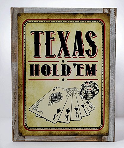 Homebody Accents Framed Texas Hold 'Em Vintage Metal Sign, Cards, Poker Chip, Gaming, Game Room, Mancave, Den, Wall Décor