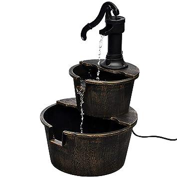 Kaskadenbrunnen Springbrunnen Wasserspiel Gartenbrunnen Handwasserpumpe Design
