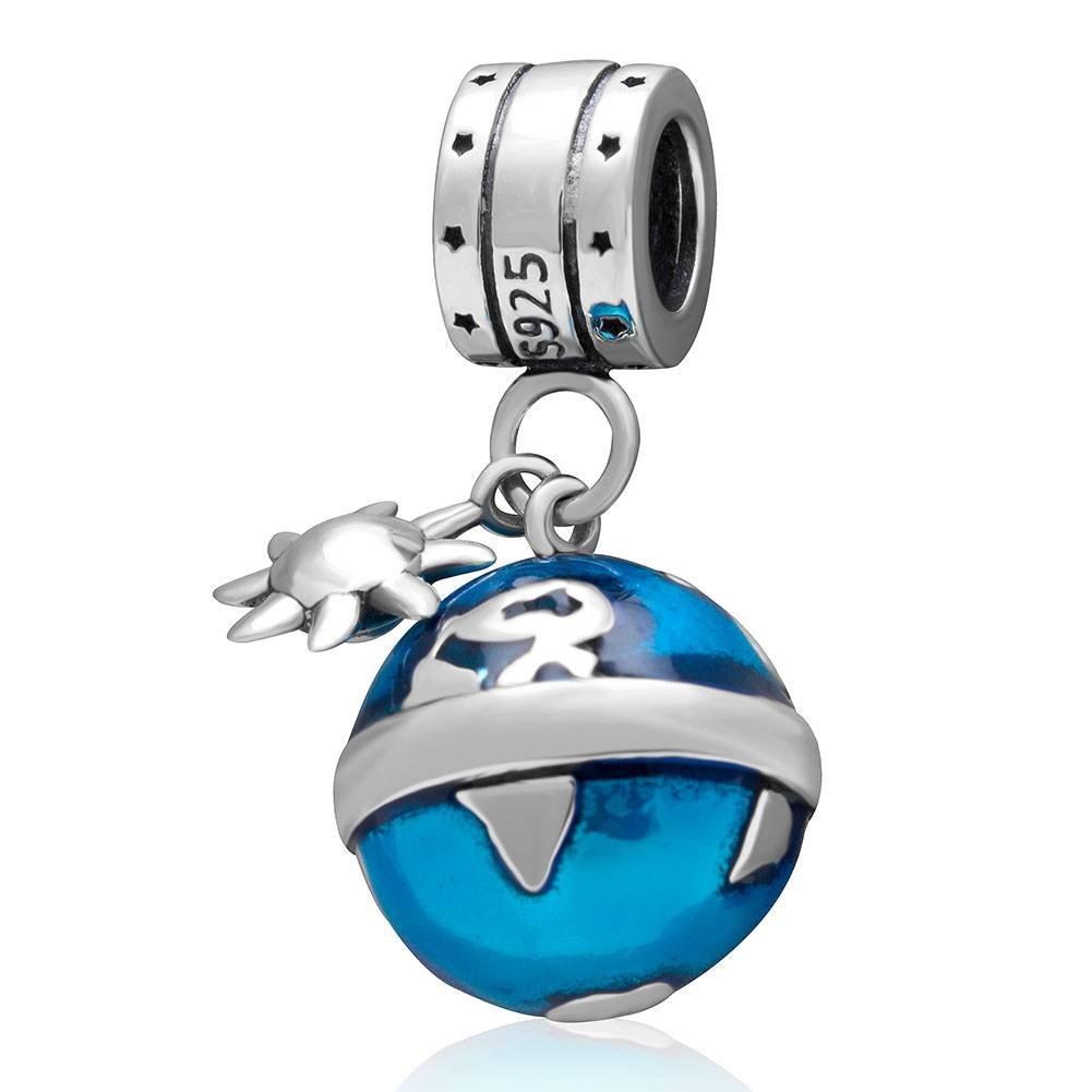 Choruslove Travel Around the World Ocean Blue Earth Charm Pendant Bead for Bracelet or Necklace