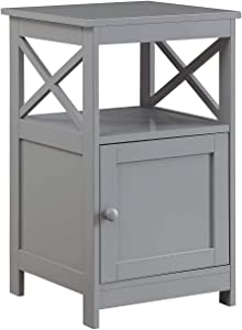 Convenience Concepts Oxford End Table with Cabinet, Gray