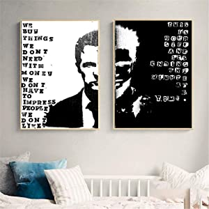 TWTQYC Fight Club Two Faces Movie Art Posters and Prints Wall Pictures for Living Room Vintage Canvas Painting Decorative Home Decor 50x70cmx2Pcs/No Frame