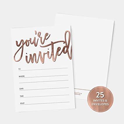 Amazon Com 25 Rose Gold You Re Invited Fill In Party Invitations