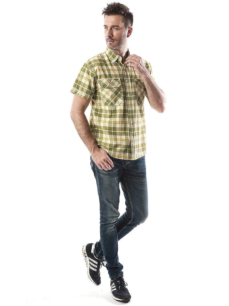 Mens Short Sleeve Plaid Checkered Button Down Casual Work Shirts
