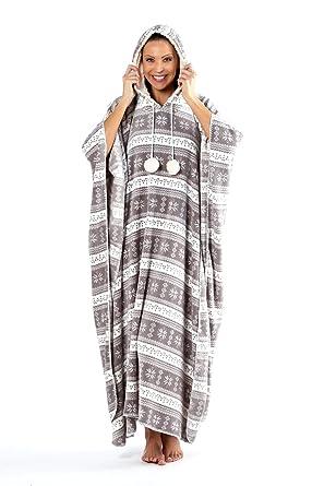 Ladies Soft Fleece Printed Long Kaftan Poncho Sleepwear One Size Grey