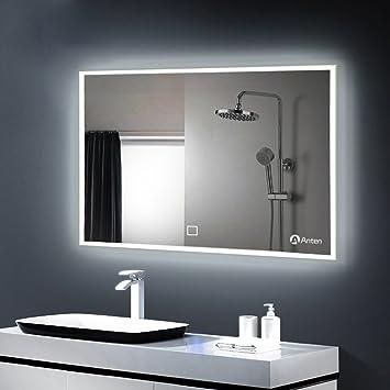 Anten 23W Miroir LED Mural Salle de Bain Eclairage Lampe de Miroir 100 x 60  cm Intégré Commutateur Tactile Coiffeuse Lumineux Anti-déflagrant Blanc ...
