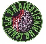 "Novelty Iron On Patch - Creepy Zombie Dead ""Eat Me"" Head Brains Applique"