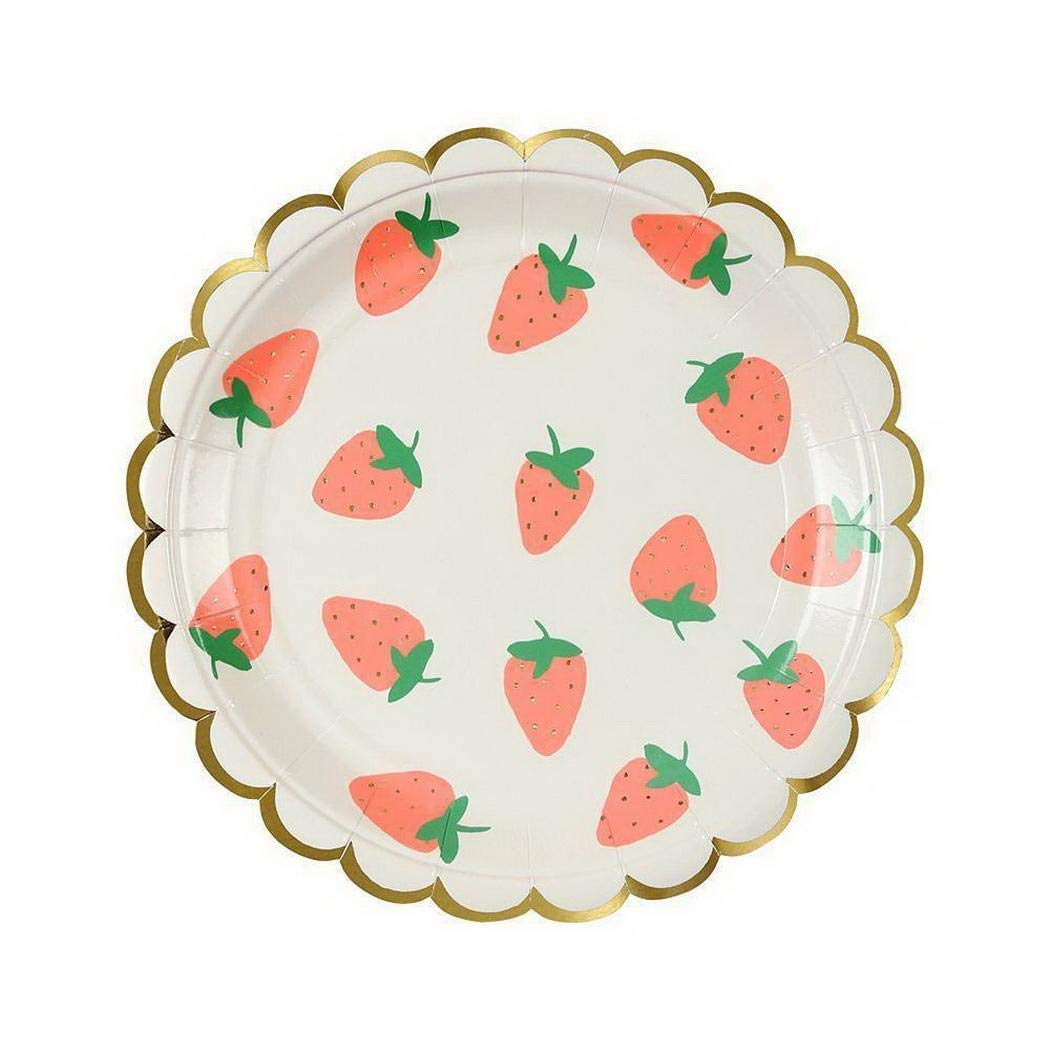 Ankidz Disposable Tableware Strawberry Paper Plates Cup Napkins Birthday Party Supplies Mixed Cutlery Sets