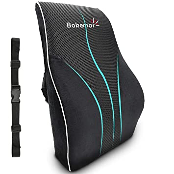 Lumbar Support Pillow Back Cushion Comfort 100% Pure Memory Foam Lumbar Support for Office Chair - Lumbar Support Pillow with Adjustable Straps for ...
