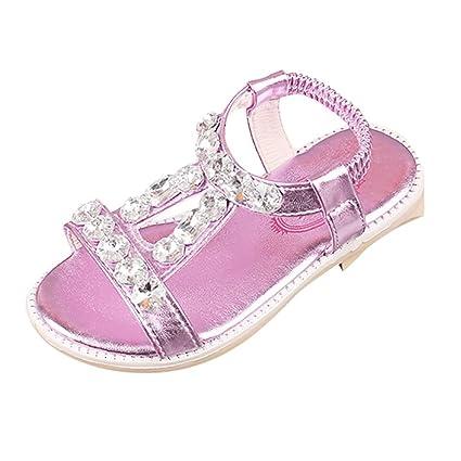 Sandalias romanas Bebé Niña Verano Zapatos planos Zapatillas de niñas princesa Sandalias de playa Crystal Chicas