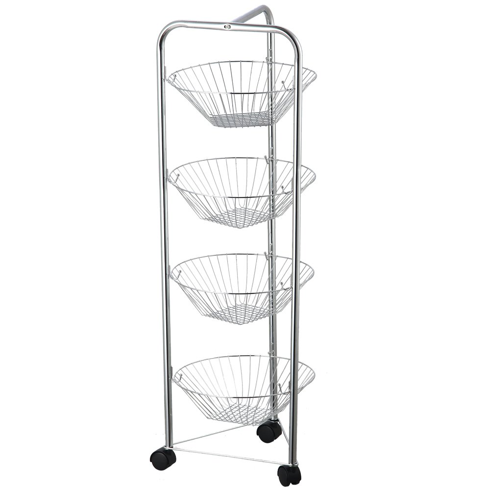 Chef Vida 4-Tier Kitchen Vegetable Fruit Basket Storage Trolley/Rack Stand with Wheels, Metal, Chrome Lassic 333343