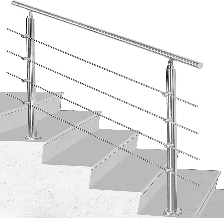 160 cm /Ø 42mm mit 2 Querstreben f/ür den Garten,Treppenhaus innen Hauseingang uvm Hengda Handlauf Aluminium Treppengel/änder innen /& au/ßen