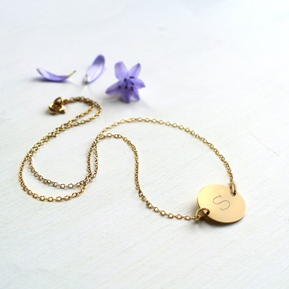 Personalised Gold Initial Disc Necklace