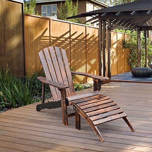 NEW Adirondack Outdoor Patio Deck Wood Lounge Chair Seat w/ Ottoman Carbonized Brown