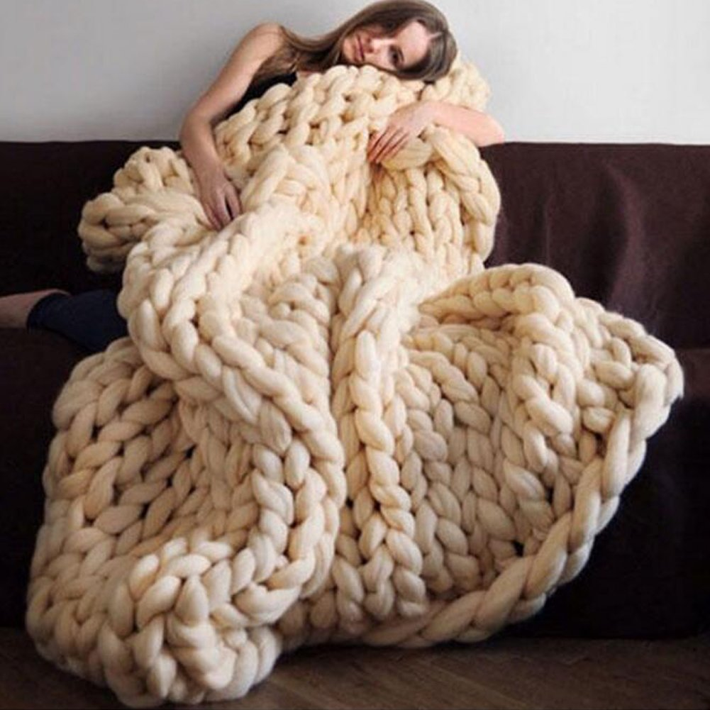 RaBia Giant Knit Blanket Throw Soft Rug Sofa Bed Lounge Decorator Knitted Pet Bed Mat Rug