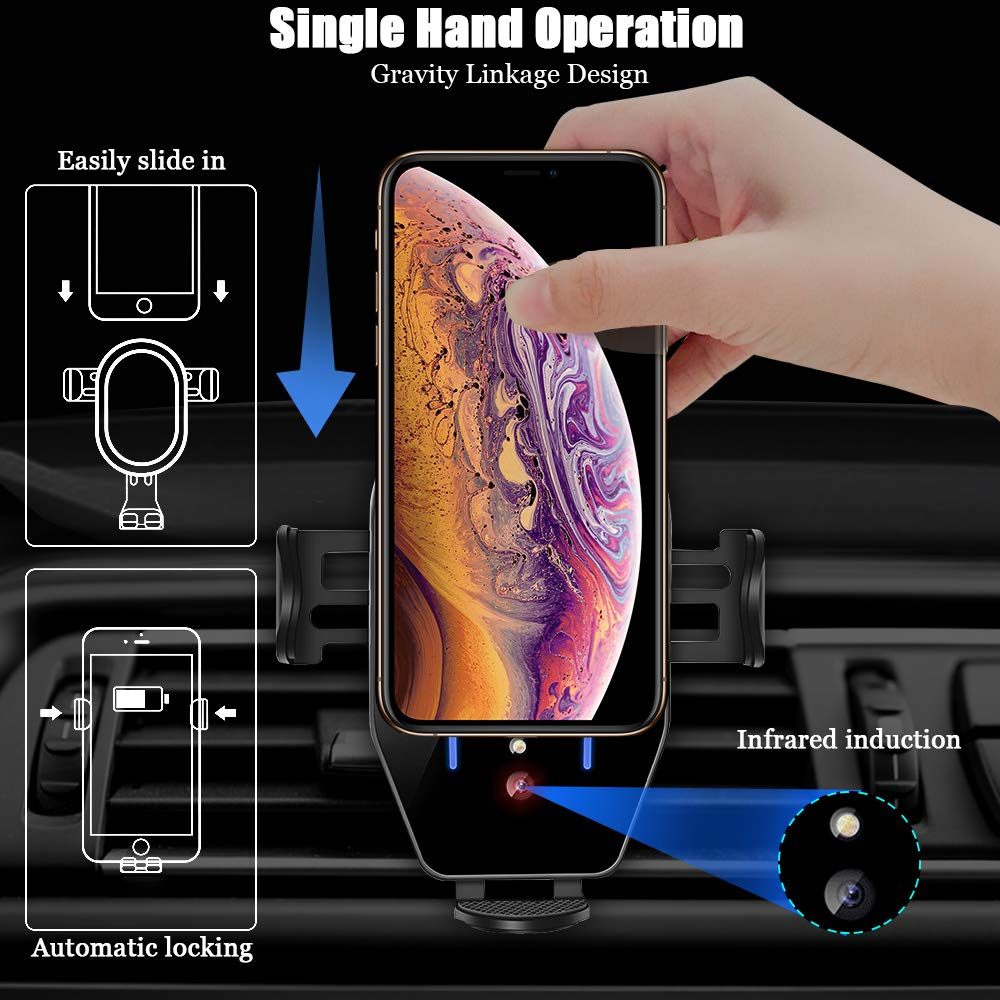 Wireless Car Charger Mount Auto-Clamping Air Vent Car Phone Holder 7.5W Fast Charging Compatible with iPhone 11 Pro Max XS Max XS XR 8 Plus 10W for Samsung Galaxy S10 S9 S8 Other Qi Smartphone