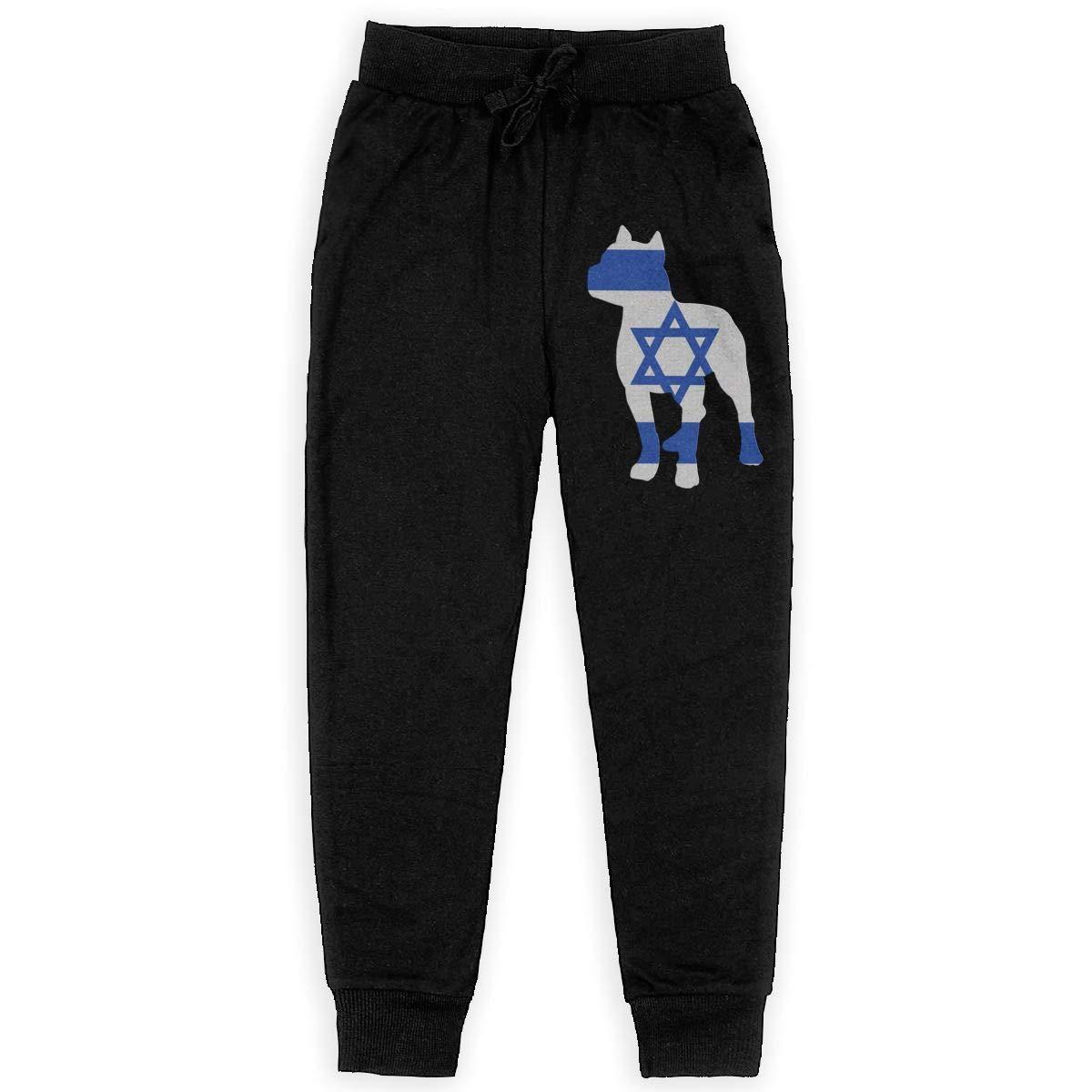 Teenager Active Pants for Teenager Girls WYZVK22 Patriotic Pitbull Israel Flag Soft//Cozy Sweatpants