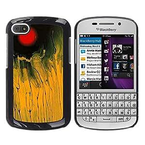 TopCaseStore / la caja del caucho duro de la cubierta de protección de la piel - Red Yellow Field Black Abstract Painting - BlackBerry Q10