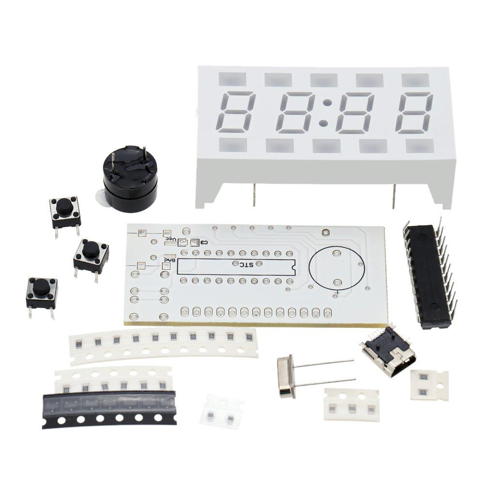 4-dígitos KKmoon Creative DIY Digital Simple con reloj de luces LED de blanco de sobremesa Mini-reloj electrónico: Amazon.es: Bricolaje y herramientas