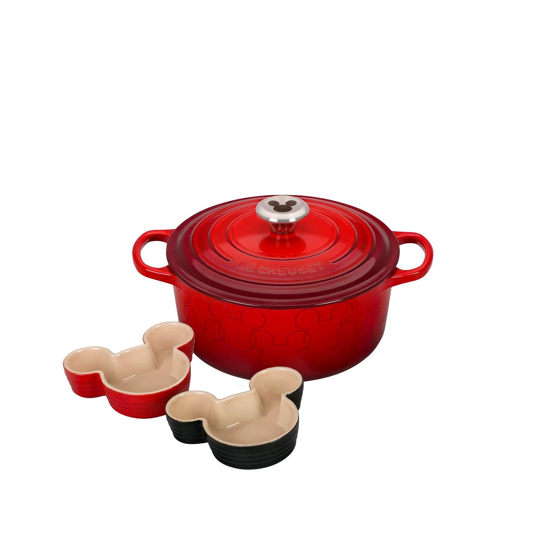 Le Creuset Cerise Mickey Mouse Inspired 4.5 Quart Dutch Oven with Ramekin Set
