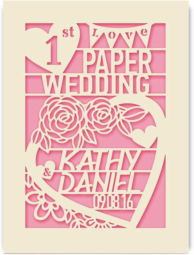 Blue EDSG Personalised Wedding Anniversary Card Custom Gift Hand Finished in UK Laser Paper Cut Greeting Cards with Envelopes Customized Names and Date