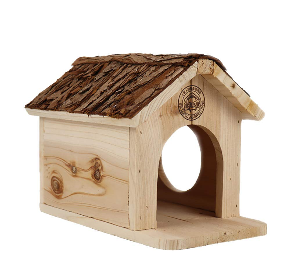 TUDIO Hamster House Durable Odorless Non-Toxic Wooden Hut for Hamster Toys Hamster House Natural Living Wooden Castle, Small Animal Playground Chew Toy,A