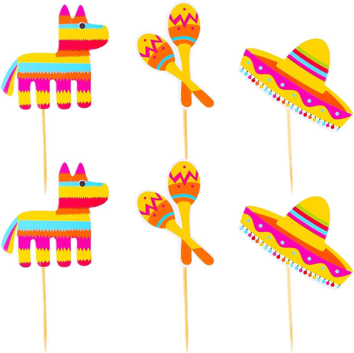 Amosfun 24 Piezas de Fiesta Mexicana Cactus Alpaca Cake Cupcake Toppers Decoraciones para Pasteles Cinco de Mayo Decoraciones Suministros