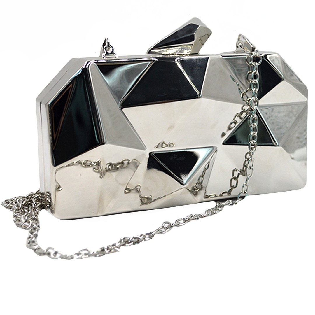 Goodbag Boutique Women Lattice Pattern Metal Handbag Girl Diamond Clutch Purse Chain Mini Shoulder Bag Silver