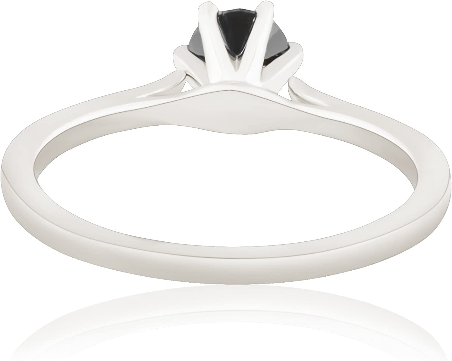 Prism Jewel Six Prong Set 0.28Ct Black Diamond Solitaire Engagement Ring