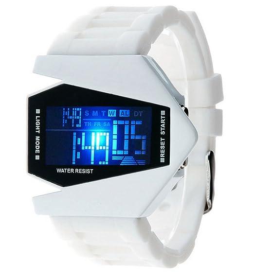 Fanmis estilo plano y elegante pantalla digital LED reloj de pulsera de silicona de color blanco negro: Amazon.es: Relojes