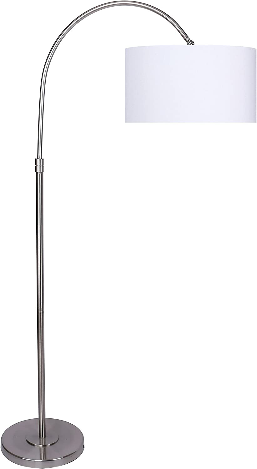 Grandview Gallery 63.5 Modern Brushed Nickel Arc Floor Lamp with Tiered Base and White Linen Hanging Drum Shade – Lighting for Behind The Couch, Free Standing, Reading, The Bedroom, or The Office