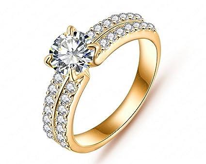Nuevo 18 K anillos de boda anillo de compromiso de diamantes de oro al por mayor