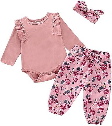 Newborn Toddler Kids Baby Girl Flower Dress Tops Long Pants 3PCS Outfits Clothes