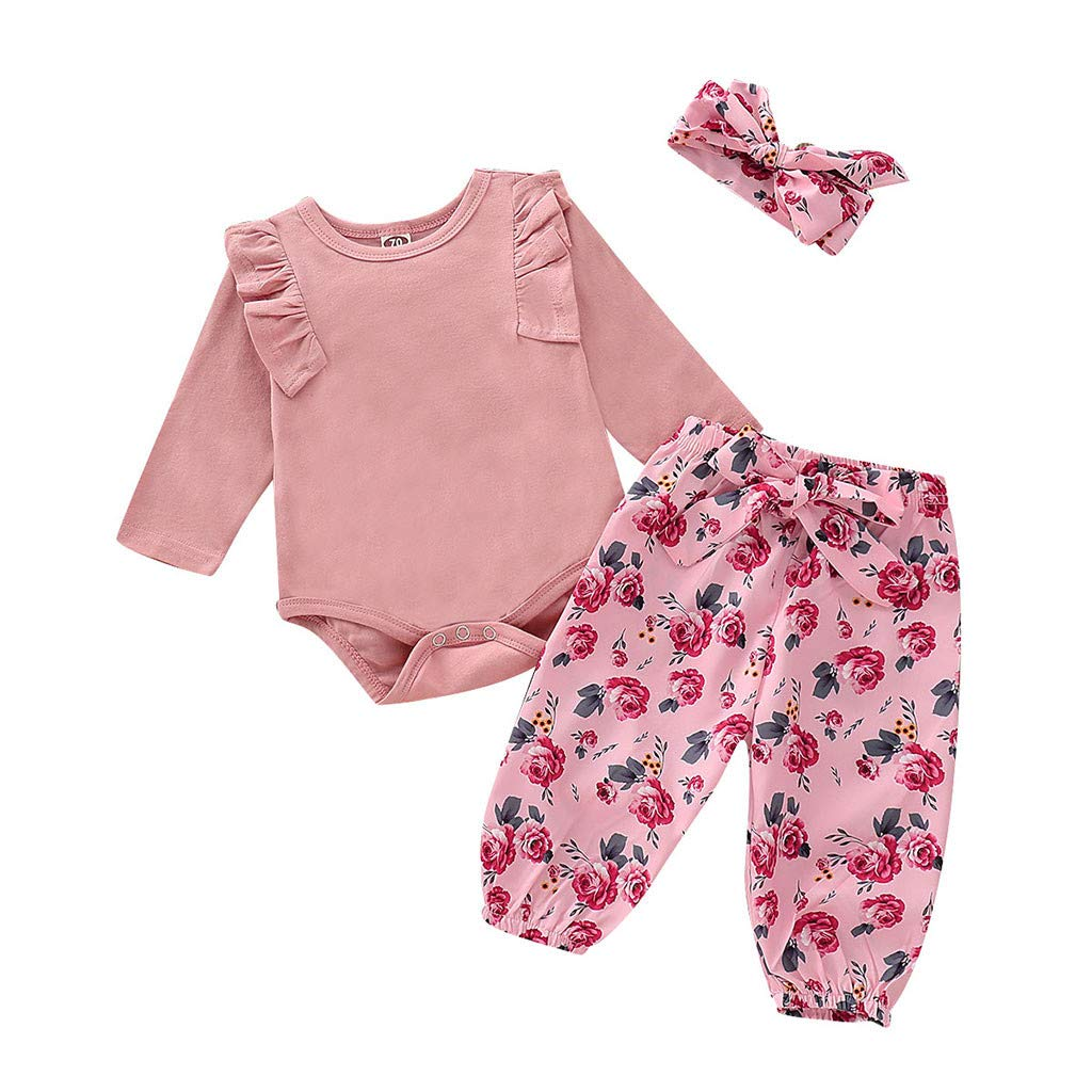 6a10a0696030 Amazon.com: Infant Baby Girl Dresses 0-3 Months,Infant Baby Girls Solid  Jumpsuit Romper+Floral Print Pants+Headband Outfits,Baby Girls' Novelty  Dresses,Pink ...