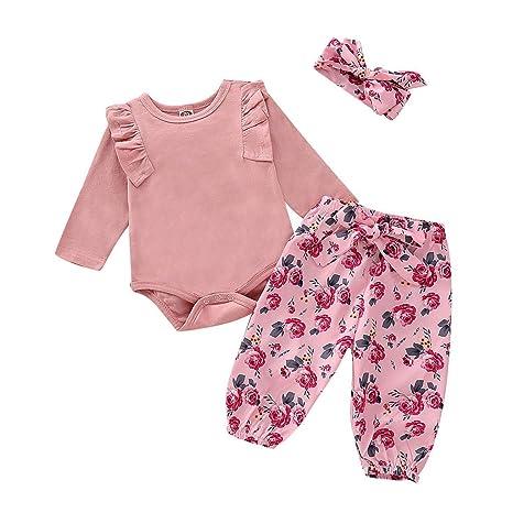 44ca765d1 luhan Infant Baby Girls Solid Ruffle Long Sleeve Jumpsuit Romper+Floral  Print Pants+Headband